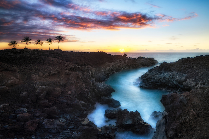Inlet and palm trees with sunset. The Kohaka Coast, Hawaii, The Big Island