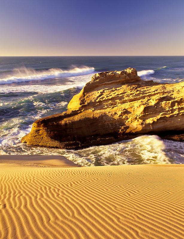 Dunes and rocks at Cape Kiwanda. Pacific City, Oregon.