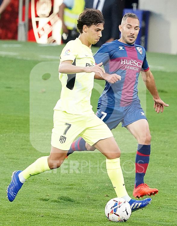 SD Huesca's David Ferreiro (r) and Atletico de Madrid's Joao Felix during La Liga match. September 30,2020. (ALTERPHOTOS/Acero)