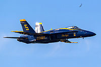 Blue Angels Lead Solo aircraft in flight flown by Lcdr Tyler Davies