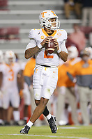 Tennessee quarterback Jarrett Guarantano (2) throws a pass, Saturday, November 7, 2020 during the second quarter of a football game at Donald W. Reynolds Razorback Stadium in Fayetteville. Check out nwaonline.com/201108Daily/ for today's photo gallery. <br /> (NWA Democrat-Gazette/Charlie Kaijo)