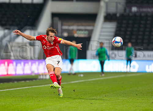 7th November 2020; Pride Park, Derby, East Midlands; English Football League Championship Football, Derby County versus Barnsley; Callum Brittain of Barnsley crossing the ball in to the Derby goal area