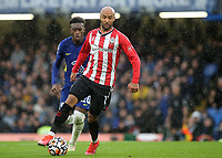 Nathan Redmond of Southampton in possession as Chelsea's Callum Hudson-Odoi looks on during Chelsea vs Southampton, Premier League Football at Stamford Bridge on 2nd October 2021