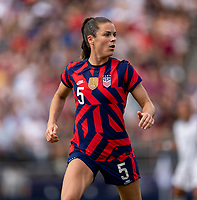 EAST HARTFORD, CT - JULY 5: Kelley O'Hara #5 of the USWNT looks to the ball during a game between Mexico and USWNT at Rentschler Field on July 5, 2021 in East Hartford, Connecticut.