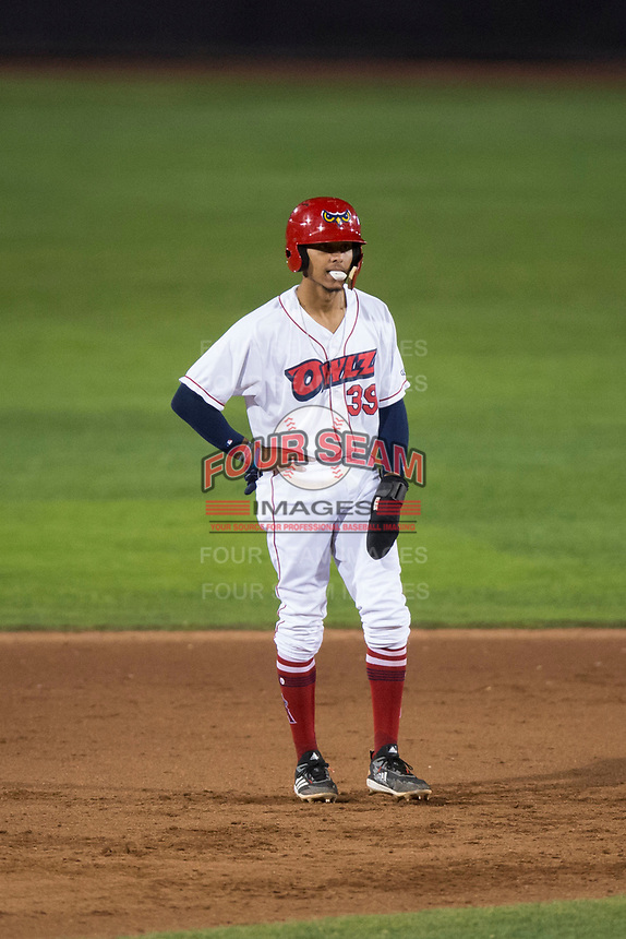 Orem Owlz shortstop Jeremiah Jackson (39) takes a lead off second base during a Pioneer League game against the Ogden Raptors at Home of the OWLZ on August 24, 2018 in Orem, Utah. The Ogden Raptors defeated the Orem Owlz by a score of 13-5. (Zachary Lucy/Four Seam Images)