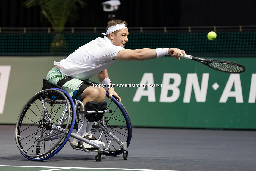 Rotterdam, The Netherlands, 6 march  2021, ABNAMRO World Tennis Tournament, Ahoy,  Semi final wheelchair:  Alfie Hewett (GBR).<br /> Photo: www.tennisimages.com/