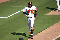 Baltimore Orioles Yusniel Diaz (23) rounds the bases after hitting a home run during a Major League Spring Training game against the Pittsburgh Pirates on February 28, 2021 at Ed Smith Stadium in Sarasota, Florida.  (Mike Janes/Four Seam Images)