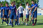 GER - Mannheim, Germany, May 05: During the men field hockey 1. Bundesliga match between Mannheimer HC (navy blue) and Uhlenhorster HC Hamburg (light blue) on May 5, 2018 at Am Neckarkanal in Mannheim, Germany. Final score 3-2. (Photo by Dirk Markgraf / www.265-images.com) *** Local caption ***