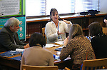 Tammy Westergard speaks to library representatives from Belarus during a tour at the Nevada State Library and Archives and Public Records in Carson City, Nev. on Friday, Jan. 27, 2017.<br /> Photo by Cathleen Allison/Nevada Photo Source