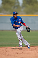 Chicago Cubs shortstop Luis Vazquez (1) during a Minor League Spring Training game against the Oakland Athletics at Sloan Park on March 13, 2018 in Mesa, Arizona. (Zachary Lucy/Four Seam Images)