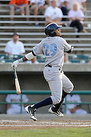 Right fielder Geulin Beltre (29) of the Wilmington Blue Rocks bats in a game against the Lynchburg Hillcats on Tuesday, June 25, 2013, at Calvin Falwell Field in Lynchburg, Virginia. Lynchburg won, 3-2. (Tom Priddy/Four Seam Images)