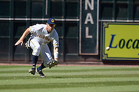 California Golden Bears outfielder Brian Celsi #25 on defense during the NCAA baseball game against the Baylor Bears on March 1st, 2013 at Minute Maid Park in Houston, Texas. Baylor defeated Cal 9-0. (Andrew Woolley/Four Seam Images).