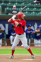 Andrew Daniel (13) of the Orem Owlz at bat against the Ogden Raptors in Pioneer League action at Lindquist Field on June 27, 2014 in Ogden, Utah.  (Stephen Smith/Four Seam Images)