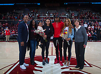 Stanford, CA - February 9, 2020: DiJonai Carrington, Tara VanDerveer at Maples Pavilion. Stanford Women's Basketball defeated the USC Trojans 79-59 on their Senior Night and celebration of National Girls and Women in Sports Day.