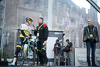 Sep Vanmarcke (BEL/LottoNL-Jumbo) on the start podium interviewed by Sprza journalist Karl Berteele<br /> <br /> 100th Ronde van Vlaanderen 2016