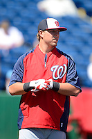 Washington Nationals third baseman Matt Skole #26 during practice before a Spring Training game against the Philadelphia Phillies at Bright House Field on March 6, 2013 in Clearwater, Florida.  Philadelphia defeated Washington 6-3.  (Mike Janes/Four Seam Images)