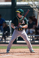 Oakland Athletics third baseman Trace Loehr (3) during a Minor League Spring Training game against the Chicago Cubs at Sloan Park on March 19, 2018 in Mesa, Arizona. (Zachary Lucy/Four Seam Images)