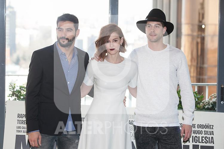 Antonio Velazquez, Ana Maria Polvorosa and Luis Fernandez poses during `Mi gran noche´ film presentation in Madrid, Spain. February 20, 2015. (ALTERPHOTOS/Victor Blanco)