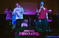 08 APR 2016 - STOWMARKET, GBR - Muckaniks (second from the left) and members of the Indigo Frequency label, perform during a recording for BBC Introducing at the John Peel Centre for Creative Arts in Stowmarket, Suffolk, Great Britain (PHOTO COPYRIGHT © 2016 NIGEL FARROW, ALL RIGHTS RESERVED)