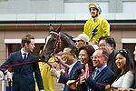 SHA TIN,HONG KONG-APRIL 24: Werther,ridden by Hugh Bowman, attend the winning ceremony after winning the Audemars Piguet QEII Cup at Sha Tin Racecourse on April 24,2016 in Sha Tin,New Territories,Hong Kong (Photo by Kaz Ishida/Eclipse Sportswire/Getty Images)