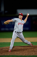 Vancouver Canadians relief pitcher Luke Gillingham (17) delivers a pitch during a Northwest League game against the Tri-City Dust Devils at Gesa Stadium on August 21, 2019 in Pasco, Washington. Vancouver defeated Tri-City 1-0. (Zachary Lucy/Four Seam Images)