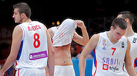 Serbia's Zoran Erceg, Bogdan Bogdanovic, Nikola Kalinic and Nemanja Bjelica reacts after European championship semi-final basketball match between Serbia and Lithuania on September 18, 2015 in Lille, France  (credit image & photo: Pedja Milosavljevic / STARSPORT)