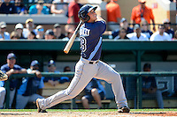 Tampa Bay Rays catcher Lucas Bailey #8 at bat during a Spring Training game against the Detroit Tigers at Joker Marchant Stadium on March 29, 2013 in Lakeland, Florida.  (Mike Janes/Four Seam Images)