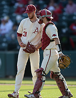 Arkansas Wednesday, April 7, 2021, during the inning of the Razorbacks' 10-3 win over UALR at Baum-Walker Stadium in Fayetteville. Visit nwaonline.com/210408Daily/ for today's photo gallery. <br /> (NWA Democrat-Gazette/Andy Shupe)