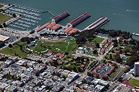 aerial photograph of Fort Mason and Gashouse Cove in the Marina District, San Francisco, California