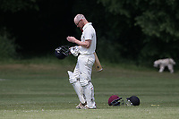 Harold Wood lose their second wicket during Brentwood CC (bowling) vs Harold Wood CC, Hamro Foundation Essex League Cricket at The Old County Ground on 12th June 2021