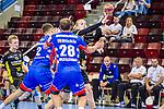 Elmar Asgeirsson (TVB Stuttgart #4) ; Tobias Heinzelmann (HBW Balingen #28) ; Rene Zobel (HBW Balingen #2) ; BGV Handball Cup 2020 Halbfinaltag: TVB Stuttgart vs. HBW Balingen-Weilstetten am 11.09.2020 in Ludwigsburg (MHPArena), Baden-Wuerttemberg, Deutschland<br /> <br /> Foto © PIX-Sportfotos *** Foto ist honorarpflichtig! *** Auf Anfrage in hoeherer Qualitaet/Aufloesung. Belegexemplar erbeten. Veroeffentlichung ausschliesslich fuer journalistisch-publizistische Zwecke. For editorial use only.
