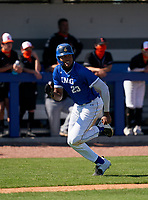 IMG Academy Ascenders James Wood (23) scores a run during a game against the Lakeland Dreadnaughts on February 20, 2021 at IMG Academy in Bradenton, Florida.  (Mike Janes/Four Seam Images)