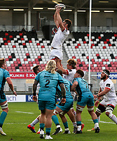 25 October 2020; Sam Carter of Ulster secures this line out ball during the Guinness PRO14 match between Ulster and Dragons at Kingspan Stadium in Belfast. Photo by John Dickson/Dicksondigital