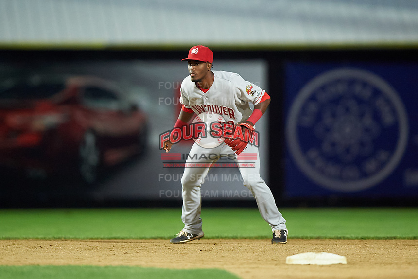 Vancouver Canadians shortstop Luis De Los Santos (20) during a Northwest League game against the Tri-City Dust Devils at Gesa Stadium on August 21, 2019 in Pasco, Washington. Vancouver defeated Tri-City 1-0. (Zachary Lucy/Four Seam Images)