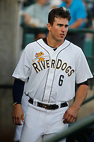 Charleston RiverDogs outfielder Brandon Thomas (6) in the dugout during a game against the Hickory Crawdads at Joseph P. Riley Jr. Ballpark on May 2, 2015 in Charleston, South Carolina. Hickory defeated Charleston  4-1. (Robert Gurganus/Four Seam Images)