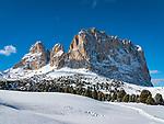 Italien, Suedtirol (Trentino - Alto Adige), Groednertal oberhalb von Wolkenstein an der Sellajoch Passstrasse: Langkofelgruppe (3.181 m) | Italy, South Tyrol (Trentino -Alto Adige) above Selva di Val Gardena at Passo Sella: Sassolungo mountains (3.181 m)