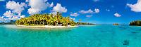 Turquoise Motu Tane water, white sand, and palm trees on beautiful Bora Bora island, a honeymoon destination, near Tahiti, Polynesia, Pacific Ocean
