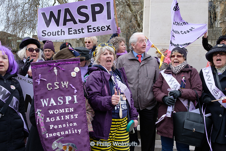 Dennis Skinner MP joins WASPI Women Against State Pension Inequality protest outside Parliament, Westminster, London