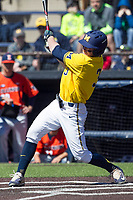 Michigan Wolverines outfielder Miles Lewis (3) swings the bat against the Illinois Fighting Illini during the NCAA baseball game on April 8, 2017 at Ray Fisher Stadium in Ann Arbor, Michigan. Michigan defeated Illinois 7-0. (Andrew Woolley/Four Seam Images)