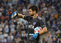 KANSAS CITY, KS - JULY 31: Jimmy Maurer #20 FC Dallas holds the ball during a game between FC Dallas and Sporting Kansas City at Children's Mercy Park on July 31, 2021 in Kansas City, Kansas.