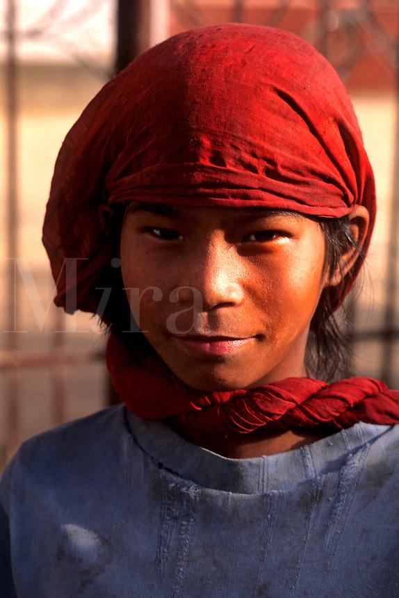 Portrait of poor young girl in kathmandu Nepal Katmandu