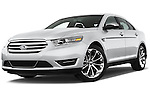 Low aggressive front three quarter view of a 2017 Ford Taurus LTD