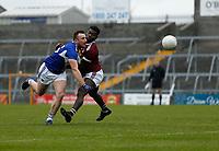 17th October 2020; TEG Cusack Park, Mullingar, Westmeath, Ireland; Allianz Football Division 2 Gaelic Football, Westmeath versus Laois; Gary Walsh (Laois) and Boidu Sayeh (Westmeath) challenge for the ball