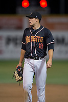 Modesto Nuts first baseman Evan White (18) during a California League game against the San Jose Giants at San Jose Municipal Stadium on May 15, 2018 in San Jose, California. Modesto defeated San Jose 7-5. (Zachary Lucy/Four Seam Images)