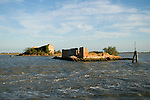 Venice Italy 2009. Abandoned small flooded islands in the Venice lagoon.
