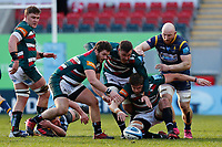 /6th February 2021; Mattoli Woods Welford Road Stadium, Leicester, Midlands, England; Premiership Rugby, Leicester Tigers versus Worcester Warriors; Leicester Tigers and Worcester Warriors players scramble for a loose ball