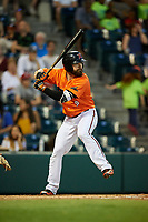 Richmond Flying Squirrels left fielder Matt Lipka (9) at bat during a game against the Trenton Thunder on May 11, 2018 at The Diamond in Richmond, Virginia.  Richmond defeated Trenton 6-1.  (Mike Janes/Four Seam Images)