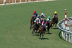 ARCADIA, CA  SEP 26:  #4 Bulletproof One, ridden by Ricardo Gonzalez, leads the field in to the far turn on her way  to winning the Unzip Me Stakes on September 26, 2020 at Santa Anita Park in Arcadia, CA. (Photo by Casey Phillips/Eclipse Sportswire/CSM.