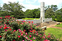 Photography of the Mecklenburg County WWII Memorial, Evergreen Cemetery, in Charlotte, NC.<br /> The granite structure has two wings coming off of the middle tower that list all 5,170 of the soldiers that rested in the area.<br />  <br /> Charlotte Photographer -PatrickSchneiderPhoto.com