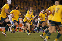 MELBOURNE, 29 JUNE 2013 - James O'CONNOR of the Wallabies fires off a pass during the Second Test match between the Australian Wallabies and the British & Irish Lions at Etihad Stadium on 29 June 2013 in Melbourne, Australia. (Photo Sydney Low / sydlow.com)